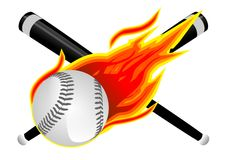 Baseball in Flames. Baseball Bats, Softball and Flames Illustration Isolated on White Royalty Free Stock Images