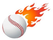 Baseball with flames vector Royalty Free Stock Image