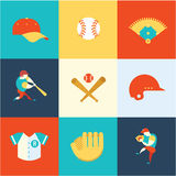 Baseball flat icons Royalty Free Stock Photos