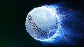 Baseball Flying in Flames 4K Loop. Features a baseball flying through a space like atmosphere with blue particle flames emanating from it as it revolves in a