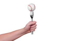 Baseball on fork Stock Photos