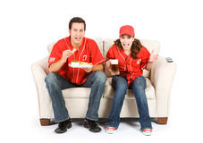 Baseball: Friends Anxiously Watching Game Stock Photography