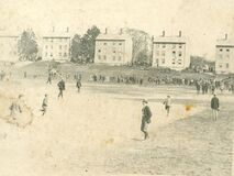 Baseball in front of the Latin Commons at Phillips Academy, 1899-1900 Royalty Free Stock Photography
