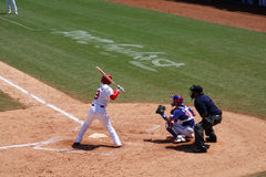 Baseball game. Batter at home base during baseball game.Chinese batter. 2008.8.15 Baseball game, Chinese team - Taiwan team. Beijing Olympic Games Stock Photos