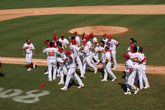 Baseball game. The Chinese team achieves the success. 2008.8.15 , Chinese team - Taiwan team. Beijing Olympic Games Royalty Free Stock Photo