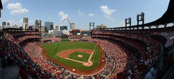 A baseball game at Busch Stadium. ST. LOUIS - JULY 07: A baseball game at Busch Stadium between the Cardinals and the Miami Marlins, on a very hot summer day, on royalty free stock image