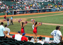 Baseball game cheerleaders Stock Image