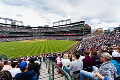 Baseball game. Denver, Colorado-April 21, 2013: Baseball game Colorado Rockies vs Arizona Diamondbacks at Coors Field Royalty Free Stock Photo