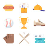 Baseball game equipment icons set Royalty Free Stock Images