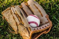 Baseball game mitt and ball Royalty Free Stock Photo