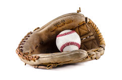 Baseball game mitt and ball Stock Photos