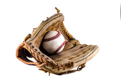Baseball game mitt and ball Royalty Free Stock Photos