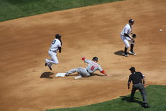Baseball game. New York Yankee. Yankee and Washington DC layers at a baseball game in New York in 2015 Royalty Free Stock Photo