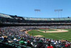 Baseball game at A's Stadium in Oakland royalty free stock photos