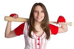 Baseball Girl. Athletic baseball girl holding bat Royalty Free Stock Photo