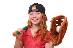 Baseball girl. Happy red haired baseball girl on white background Stock Photography