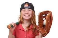 Baseball girl. Happy red haired baseball girl on white background Stock Photo