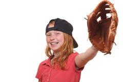 Baseball girl. Happy red haired baseball girl on white background Stock Images