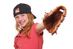 Baseball girl. Happy red haired baseball girl on white background Royalty Free Stock Photo