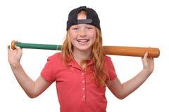 Baseball girl. Happy red haired baseball girl on white background Royalty Free Stock Photos
