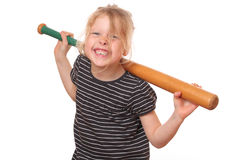Baseball girl. Portrait of a young girl with baseball bat on white background Royalty Free Stock Photography