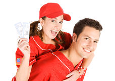 Baseball: Girl Riding High with Game Tickets Stock Image
