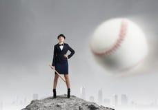 Baseball girl training Stock Images