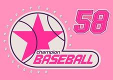 Baseball girls. Vector illustration of baseball girls print with crystal sequins Stock Photo