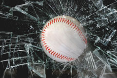Baseball through glass. Fast baseball through glass window Stock Images