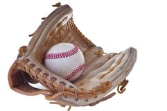 Baseball glove. A baseball glove and baseball isolated on white background Royalty Free Stock Photos
