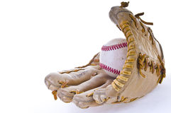 Baseball glove. A baseball glove and baseball isolated on white background Royalty Free Stock Photo