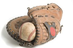 Baseball in glove Stock Photos