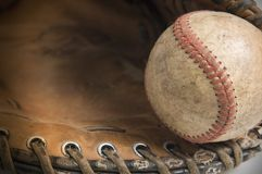 Baseball in glove. Isolated on white Stock Photography