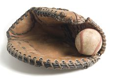 Baseball in glove. Isolated on white Stock Photos