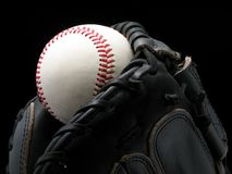 Baseball and glove. Or catchers mitt Stock Photos