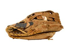 Baseball Glove. A baseball glove with ball inside. Isolated image Royalty Free Stock Images