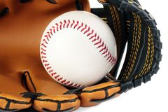 Baseball and glove. Royalty Free Stock Images