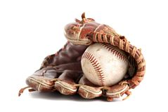 Baseball glove. And ball over white Royalty Free Stock Photography