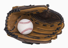 Baseball and Glove. Baseball and baseball glove isolated on white, includes clipping path Royalty Free Stock Images