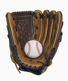 Baseball and Glove. Baseball and baseball glove isolated on white, includes clipping path Stock Photography