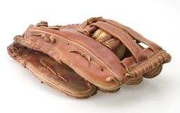 Baseball Glove. Baseball inside pocket of fielders mitt glove royalty free stock photo