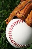 Baseball and Glove. A baseball glove with a baseball Stock Photography