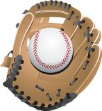 Baseball in glove. Illustration of a baseball in catcher's glove. Additional format available Stock Image