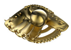 Baseball glove award / trophy. 3D rendered illustration of a golden baseball glove holding a ball. The image can be used as an award or a trophy. The composition Royalty Free Stock Photo