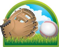 Baseball glove and ball. Illustration of a baseball glove and ball sitting in grass, with a sky background and a two-toned green arch surrounding it.  Against a Royalty Free Stock Photos