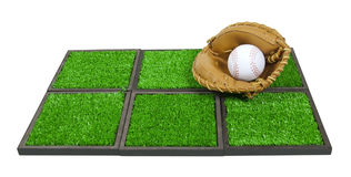 Baseball Glove and Ball on Artificial Grass Stock Images