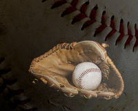 Baseball Glove and Ball with Ball Background Royalty Free Stock Photos