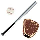 Baseball glove, ball and bat Royalty Free Stock Photography