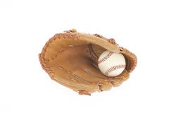 Baseball glove with ball isolated on white Royalty Free Stock Photo