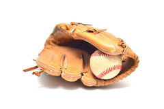 Baseball glove and ball isolated. On white Royalty Free Stock Photo
